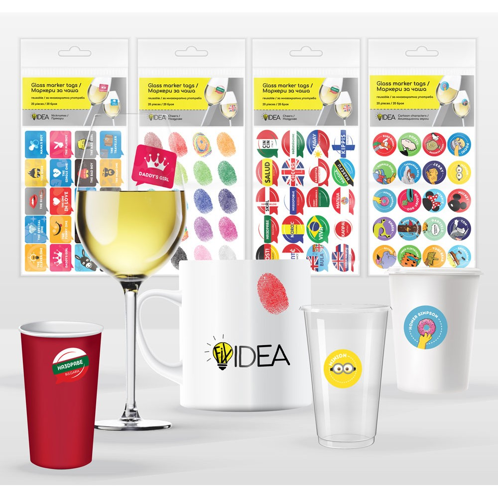 Party sticker markers (tags) for glasses. Multiple use, 20 stickers in 4 different types